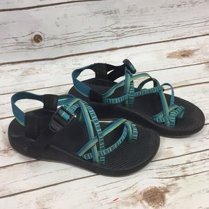 Chaco Sandals w/ blue and green straps
